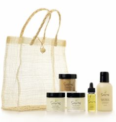 Our Starter Set is the perfect introduction to our pure and simple skincare line. Perfect for traveling, sampling, or giving! Included are a few of our most popular products all packaged in a beautiful natural sinamay bag.