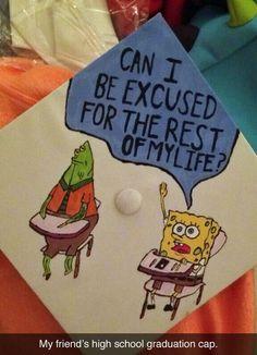 Another Spongebob grad cap Funny Graduation Caps, Graduation Cap Designs, Graduation Cap Decoration, Graduation Diy, High School Graduation, Graduate School, Funny Grad Cap Ideas, Graduation Photoshoot, Graduation Quotes