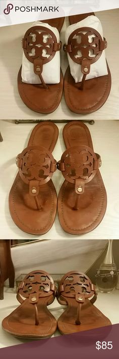 Tory Burch Miller Sandal in Vintage Vachetta ---------PRICE FIRM---------  Pre owned Miller Sandals. Wear on front, footbed, heels, and thong area. Please refer to pictures.  Size 10.  Comes with orginal box.  *No trades, thank you.*  ------PRICE FIRM----- Tory Burch Shoes Sandals