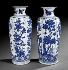Chinese Blue And White Porcelain Rouleau Vases