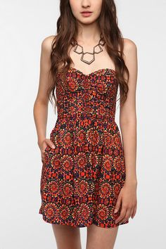 Cheap up for grabs dont miss! Urban Outfitters Band of Gypsies Strapless Dress L Orange Purple Boho Sweetheart in Clothing, Shoes & Accessories Gauze Dress, Ruched Dress, Dress Up, Beautiful Outfits, Cute Outfits, Urban Dresses, Everyday Dresses, Urban Outfitters Dress, Style
