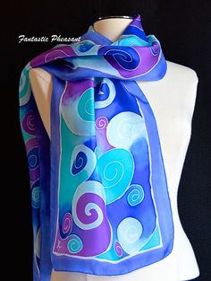 Silk scarf hand painted white swirls with by FantasticPheasant