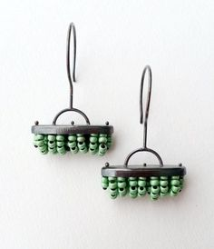 Sterling Silver Brushes Chandelier Earrings With