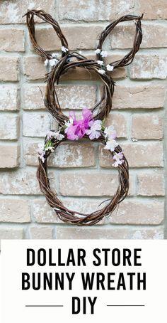 Dollar Store Bunny Wreath
