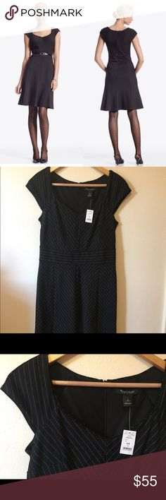 "WHBM Pinstriped Ponte Dress Size 6. NWT! Shell: 31% rayon/31% nylon/6% spandex/3% polyester. Fully lined (polyester). Back zip. Retail $158 Bust: 16.5"" Length: 39"" Flirty pinstripe dress designed with demi-cap sleeves that perfectly balance the full-swing skirt. Crafted from shape-holding ponte knit with a hint of stretch.  Stretch fit tailored with darts at the bust. White House Black Market Dresses"