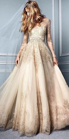 Wedding Gown - Look at the different kinds of ball gown wedding dresses.You'll find bridal dresses made from different fabrics, necklines and with variety amazing details. Ball Dresses, Bridal Dresses, Wedding Gowns, Ball Gowns, Prom Dresses, Gold Wedding Dresses, Formal Dresses, Evening Dresses, Champagne Lace Wedding Dress