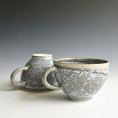 Two Handthrown Tea Cups With Motted Effect by Kleiwerk on Gourmly