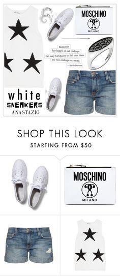 """Anastazio-Bright White Sneakers"" by anastazio-kotsopoulos ❤ liked on Polyvore featuring Keds, Moschino, Current/Elliott, Alexander McQueen, MaxMara and Anastazio"