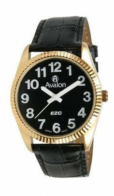 Avalon EZC Men's Gold-Tone Low Vision Watch with Leather Strap # 3120BK Avalon. $19.95. Precision Japanese quartz movement. Black croc-embossed genuine leather strap. Includes gift box and lifetime limited warranty. Extra wide hands for better visibility. EZC large white numbers on a black dial