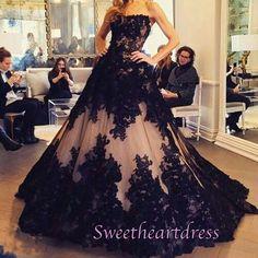 Ball gowns wedding dress, beautiful 2016 black lace chiffon long poofy prom dress