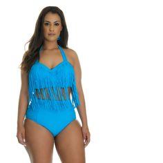 Women's Plus Size Fringe Bikini: Large/Turquoise (€15) ❤ liked on Polyvore featuring swimwear, bikinis, blue, fringe bikini, womens plus swimwear, turquoise bikini, fringe swimwear and plus size bikini