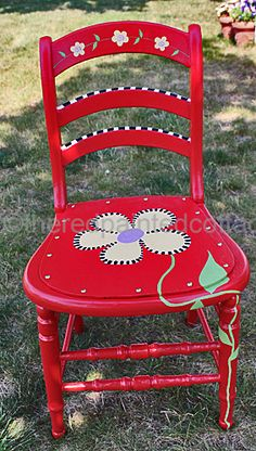 The Red Painted Cottage: 2012 Top Ten Postings Whimsical Painted Furniture, Hand Painted Chairs, Painted Stools, Hand Painted Furniture, Funky Furniture, Refurbished Furniture, Paint Furniture, Furniture Makeover, Painted Rocking Chairs