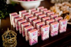 this is such an easy idea! or we could have pink and white tick tacks in bowls throughout the party!