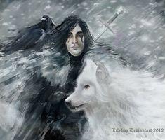 Jon Snow and Ghost by VeronicaMartinez.deviantart.com