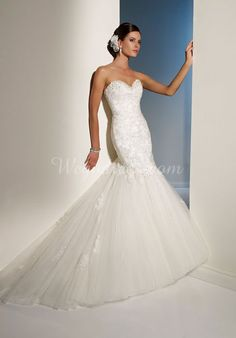 Trumpet Beading Applique Court Train Sweetheart Charming Wedding Dress