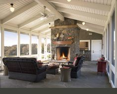 Traditional Porch Design Ideas, Pictures, Remodel and Decor Enclosed Porches, Screened In Porch, Rustic Outdoor Decor, 3 Season Room, Traditional Porch, Traditional Fireplace, Traditional Design, Building A Porch, House With Porch