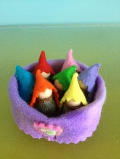 One of a Kind Heartfelt Original  This very special little tub measures about 6cms in diametre.  It houses 7 tiny rainbow gnomes( about 3cm) made