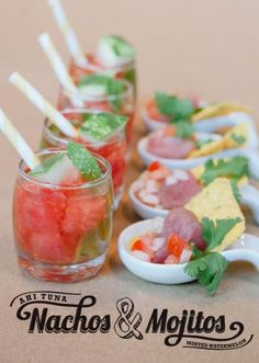 Ahi tuna nachos and minted watermelon mojitos from Nibbles by Grandeur Affaires. Photo by Candi Coffman Photography. #wedding #catering #food #drink