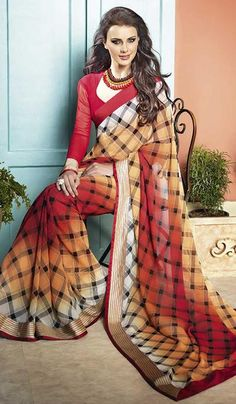 G3fashions Red Ochre Georgette Printed Party Wear Saree.  Product Code : G3-LS11082 Price : INR RS 1360