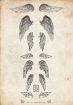 Angel wings tattoo,. I want the third one down either on my rib cage or on the back of my neck,. I want it small though with a cross in the middle