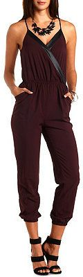 Burgundy Jumpsuit by Charlotte Russe. Buy for $14 from Charlotte Russe
