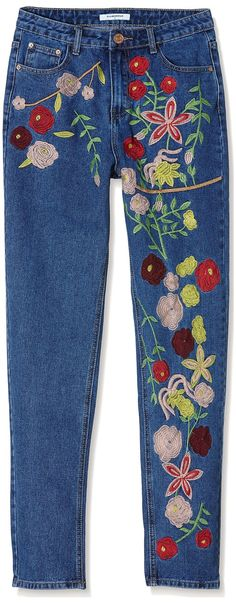 Glamorous Women jeans Floral Embroidered: Amazon.de: Clothing