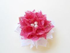 Hot Pink and White Flower Hair Clips Lace Hair Pieces Accessories by nurichant #hairclips #hairaccessories #hairflower