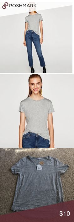 "NWT Zara Tee Sz Small Brand new with tags. From the Join Life Collection. Grey t-shirt with Hi-low hem. Length of front is 22.5"" and back is 23.5"". Armpit to armpit measures 17"" across. No trades or PayPal. Zara Tops Tees - Short Sleeve"