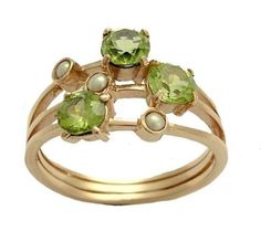 14k Rose gold gemstone ring with peridot,  August birthstone, and small pearls - Mint drops.