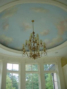 sky painted ceiling - This links to so many gorgeous murals! And so many ideas! Ceiling Painting, Ceiling Murals, Mural Painting, Wall Murals, Dome Ceiling, Ceiling Lights, Cloud Ceiling, Greek Bedroom, Barrel Ceiling