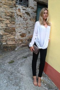 White Not-So-Basic Shirt w/Nude Sandals