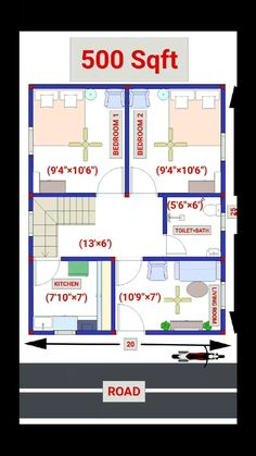 1200sq Ft House Plans, 20x30 House Plans, House Plans Mansion, Free House Plans, Small House Floor Plans, Model House Plan, Duplex House Plans, Bungalow House Design, House Front Design