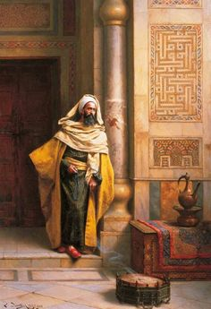 The Philosopher by Ludwig Deutsch (Vienna, 1855 - Paris, Austrian born Orientalist painter who settled in Paris. Empire Ottoman, Middle Eastern Art, Arabian Art, Islamic Paintings, Academic Art, Ludwig, Arabian Nights, Art Plastique, Islamic Art