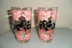 Set of 2 Vintage Drinking Glasses Hazel Atlas Pink and Black Flowers | eBay