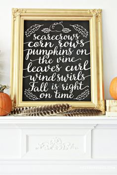 Fall is Right on Time Chalkboard Printable