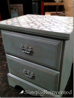 "Painted nightstands - Sherwin Williams ""Breezy"", stenciled top with Annie Sloan Old White, sealed with a dark wax"