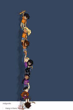 Percy Jackson, Annabeth Chase, Piper McClean, Jason Grace, Nico di Angelo, Reyna Ramírez-Arellano, Frank Zhang, Hazel Levesque & Leo Valdez