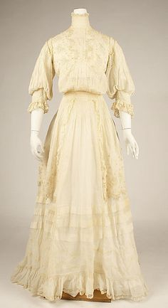 Afternoon dress Date: ca. 1908 Culture: American or European Medium: cotton Dimensions: Length at CF: 60 in. (152.4 cm)