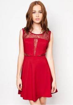 LACE PANEL CUT OUT DRESS Price : RM49 #yoloveitmy #yoloveitmalaysia #red #sexy #lace #dress #fashion #hot #elegant #sleeveless #round #neck #simple