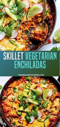 One pan vegetarian enchilada recipe that only takes 30 minutes to make from start to finish and it is a family favorite dinner! When life is busy and you need some quick and easy recipe, this easy skillet recipe will back you up. It's the perfect meal for Vegetarian Main Dishes, Best Vegetarian Recipes, Vegetarian Recipes Dinner, Easy Healthy Recipes, Mexican Food Recipes, Family Vegetarian Meals, Health Recipes, Clean Recipes, Eat Healthy