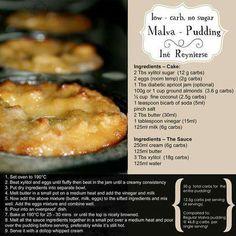Yummy LCHF / Banting friendly Malva pudding from Lowcarb is Lekker Banting Desserts, Banting Recipes, Low Carb Desserts, Low Carb Recipes, Cooking Recipes, Healthy Recipes, Radish Recipes, Pescatarian Recipes, Milk Recipes