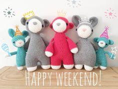 Amigurumi Gato Paso A Paso : Oso gato chanchito y conejo bebés en pijamas esperando navidad