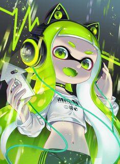 Green neon Inkling (splatoon)