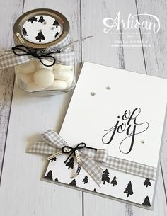 """Stampinantics: Stampin' Up! Watercolor Christmas, Merry Little Christmas DSP, Smoky Slate 1/2"""" Gingham Ribbon, Silver Mini Sequin Trim, Basic Black Solid Baker's Twine, Rhinestone Basic Jewels"""