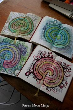 Finger labyrinths drawn in books! How cool!