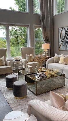 Decor Home Living Room, Living Room Decor Inspiration, Glam Living Room, Elegant Living Room, Living Room Furniture, Living Room Designs, Luxury Living Rooms, Furniture Decor, Modern Living