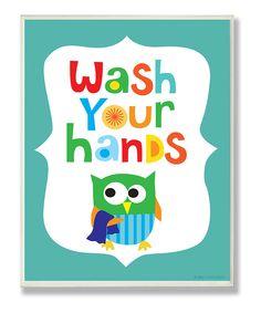 Blue 'Wash Your Hands' Wall Art-cute in kids bathroom