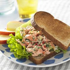 Light & Lemony Salmon Salad Sandwich #recipe #wholegrain