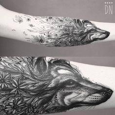 """tattoofilter: """" Sketch work/surrealist style floral wolf tattoo. Tattoo artist: Dino Nemec """""""