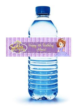 """Sofia the First """"Happy Birthday"""" water bottle labels: Downloadable & Printable on Etsy, $4.00"""